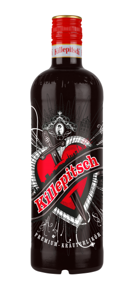 Killepitsch 42% - Premium Kräuterlikör Design Glasklar Herz 0,70 Ltr.