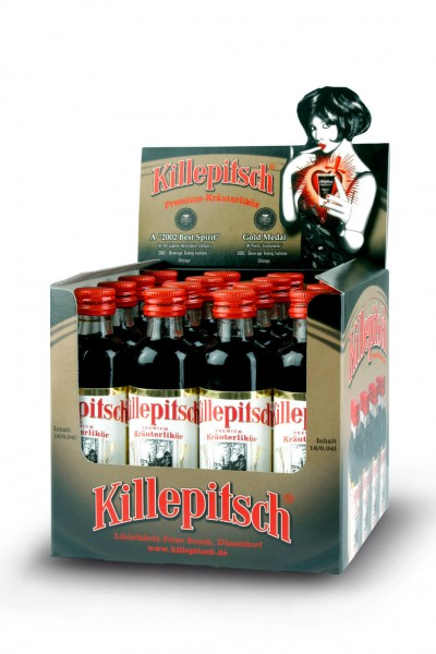 Killepitsch 42% - Premium Kräuterlikör Display 16 x 0,04 Ltr.